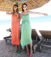 bali holidays - Hot sale New arriver fashion cotton loose Bohemian women Bali Holiday long dress green Orange summer sexy beach dresses for lady