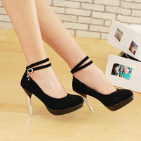 Wholesale black colour lace up high heel women shoe pantshoes