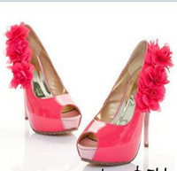 ladies shoes - Euramerican flower evening shoes PU high heel shoes water proof fish mouth ladies shoe