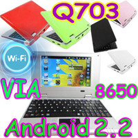 Wholesale 5pcs inch Android market VIA WM8650 Q703 Wifi Mini Laptop Netbook PC Flash