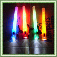 Wholesale Multi function LED signal bar glow stick flashlight and whistling with batteries