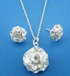 Wholesale hot best gift Perfect Beautiful sterling silver wedding charms Rose Earring NECKLACE set fashion Jewelry