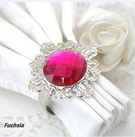 Iron ECO Friendly Acrylic Stone / Silver-tone Metal Rings SAMPLE ORDER NIR-FUC 10pcs FUCHSIA SILVER Napkin Rings Wedding Bridal Shower Favour Party decor HOT SELL