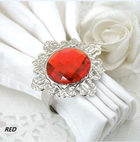 Iron ECO Friendly Acrylic Stone / Silver-tone Metal Rings SAMPLE ORDER Free shipping-10pcs RED Napkin Rings Wedding Bridal Shower Favour Party decor HOT SELLING
