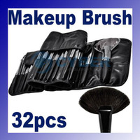 Wholesale 32pcs Pro Cosmetic Tool Makeup Brush Set Kit With Roll Up Black Faux Leather Bag Case