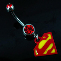 Women's animal charms lots - 0494 superman style Belly Button Navel Rings Body Piercing Jewelry Dangle Fashion Charm CZ Stone