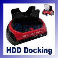 Wholesale USB quot quot IDE SATA HDD Hard Disk Dual Docking Station Combo with Card Reader Hub Black amp Red