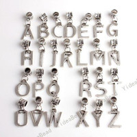 Charms alphabet letter necklaces - New Mixed Tibetan Silver Assorteed Letters Alphabets Charms Pendants Fit Necklaces in Stock
