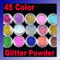 Wholesale 45 Color Glitter Acrylic Powder Dust For Nail Art Tips Makeup Set sprinkle D flat make up Color