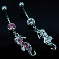 Women's animal belly button - 0282 seahorse animal styles navel belly JFB Piercing Jewelry Dangle Fashion Charm CZ Stone