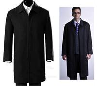 Precio de Solo botón abrigos negros-Hombres abrigo de lana gruesa en negro de cachemira larga de una sola fila de botón de la chaqueta oscura