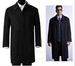 Hombres abrigo de lana gruesa en negro de cachemira larga de una sola fila de botón de la chaqueta oscura desde solo botón abrigos negros fabricantes