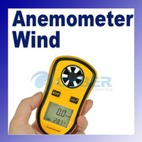 Wholesale LCD Digital Portable Spot Wind Speed Meter Gauge Anemometer Measures And NTC Temperature Yellow