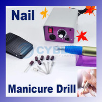 Wholesale Electric Nail art Glazing Drill Machine Kit Manicure Bits Foot Pedal spas beauty parlors finger
