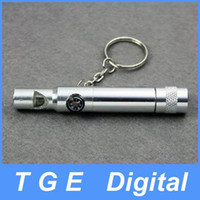 Wholesale New in compass whistle camping LED light key ring