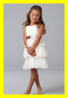 Wholesale Custom Lovely Layered Tulle Sheath Ribbon Pleating Flower Girl Dresses First Communion Dress