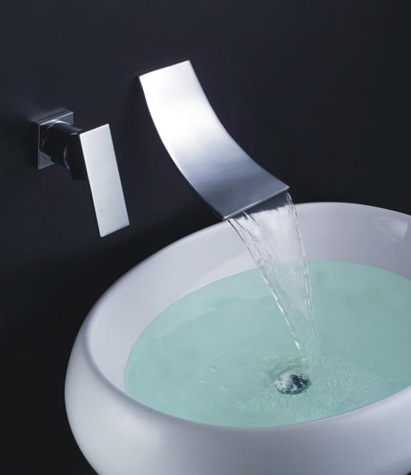 Bathroom Wall Mounted Waterfall Basin Faucet Luxury Bath