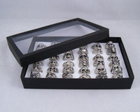 Band Rings Men's Gift Men's Skull Dragon Wolf Rings Bright Silver Tone Ring Mixed With BOX Fashion Jewelry 36pcs lots