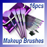 Wholesale 16 Purple Cosmetic Eye Shadow Blush Brushes Made By PONY Or GOAT Hair Makeup Set soft