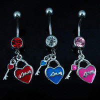 Women's bell locks - 0236 heart and lock style Mix colors navel Belly Button Ring BELLY BAR body jewelry