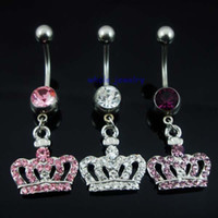 Women's bar bell - 0370 crown style Belly piercing body jewelry Button Ring navel ring BELLY BAR JFB