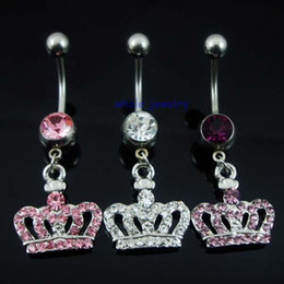 Wholesale 0370 crown style Belly piercing body jewelry Button Ring navel ring BELLY BAR JFB