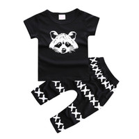 best kid bears - INS Autumn Summer Best Selling Set Baby Boys Set Cotton Bear T shirt Boys cross PP Pant Black Kids Clothes Arrow Printing