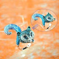 Wholesale fox rings fox design rings with blue cz diamond hot sell in australia RN B