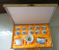 Pottery china tea sets - birthday Christmas gift Exquisite porcelain china tea set teapot set of with unique silk gift
