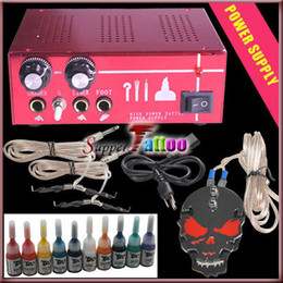 Wholesale Tattoo Power Supply kit with Foot Pedal Clipcord and Colored Ink Set