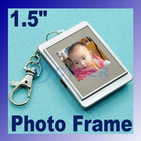 Wholesale 1 inch LCD Digital photo frame Picture Album With Keychain USB Cable With Digital Clock Silver