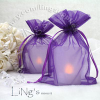 Wholesale Tracking number x15cm Purple Organza Wedding Favour Party Gift Candy Bag