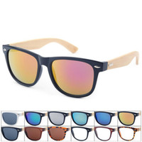 acrylic mirror film - Fashion sunglass full frame for man women bamboo retro wooden color AC lenses film black and white tea