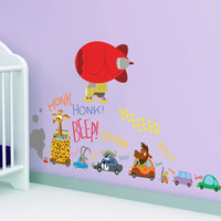 american classics cabinets - Cartoon Animals Honk Beep Wall Stickers for Kids Babies Room Nursery Crazy Animals Wall Decal Luggage Cabinet Wall Poster Removable PVC