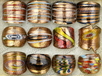 Wholesale FREE charming gold sand different style murano glass rings hot jewelry NEW
