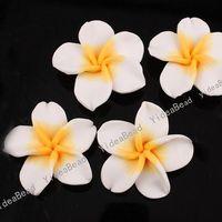 White flower polymer clay beads - 30 White Plumeria Shaped Fimo Polymer Clay Spacer Flower Beads mm Fit Beads Bracelets DIY