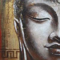 asian wall panels - Oil Wall Art Wall Canvas Art Handpainted Modern Abstract Asian Buddha Canvas Oil Painting BU