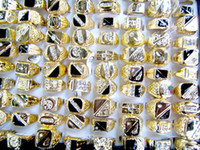 Wholesale Fashion Jewelry Rings Jewellery Mix X Golden Crystal Rhinestone Men s Sparkle Rings MR24