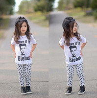bieber baby - NWT Cute Cartoon Baby Girls Boys cotton Outfits Summer Sets Boy Cotton Tops Shirts Vest Harem Pants legging Weave it to Bieber