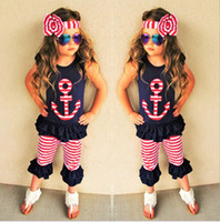 anchor tshirts - Summer Girls Childrens Clothing Sets Anchor Printed Short Sleeve tshirts Tops Lace Trouser Headbands Piece Set Kids Clothes