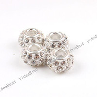 Wholesale 10x Alloy White Enamel Rhinestone Large Hole Charms Beads Fit Beads Bracelets Have in Stock