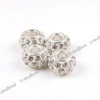 large hole beads - 10x Alloy White Enamel Rhinestone Large Hole Charms Beads Fit Beads Bracelets Have in Stock