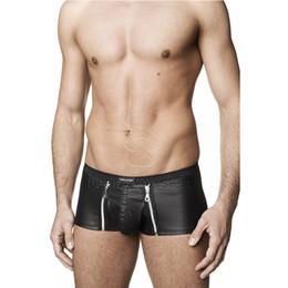 Wholesale Men Leather Boxer Underwear Plus Size Sexy Zipper Front Briefs Boxer Erotic Male Black Vinyl Low Waist Lingerie Underwear W850546