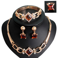 Wholesale New Statement Jewelry Suits Species Trendy Necklace Earring Bracelet Ring Alloy Chain Women Jewelry