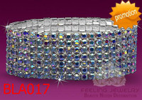 Wholesale AB rhonestone bracelet rows crystal stretchy bracelets bridal wedding bangles