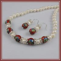Earrings & Necklace cloisonne earrings - AA MM red Cloisonne mm white fresh water pearl necklace earring jewelry set A1552