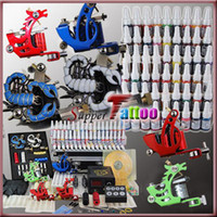 Wholesale Complete Tattoo Kit Machines Guns Colors Ink Power Needle Beginner Tattoo Supply
