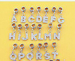 Wholesale Letter Crystal Dangle Ball Big Hole Bead Fit Charm