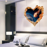 bathroom universe - 3D Love Heart Shape Cracked Wall Stickers Stereo Universe Space Wall Poster Living Room Bedroom Decor Wall Applique Removable PVC Wallpaper