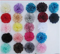 Wholesale Satin mesh silk flowers without hair clip colors